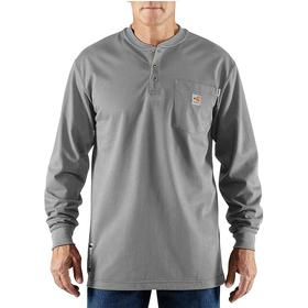 Carhartt Flame-Resistant Henley Shirt: 2 Hazard Risk Category (HRC), 8.9 cal/sq cm Max Arc Flash Protection, Jersey Knit Cotton, Gray, Button, Men