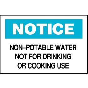 Brady Food & Water Sanitation Sign: 7 in Overall Ht, 10 in Overall Wd, Polyester, Self-Adhesive, Notice, English, Text, White