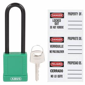 Nonconductive Lockout Padlock with Labels: Keyed Different, Green, 1 3/4 in Body Ht, 1 1/2 in Body Wd, 1/4 in Shackle Dia