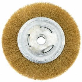 Light Cleaning Wheel Brush: Crimped, Plain Arbor, Brass, 6 in Brush Dia, 2 in Center Hole Dia, 0.02 in Bristle Dia