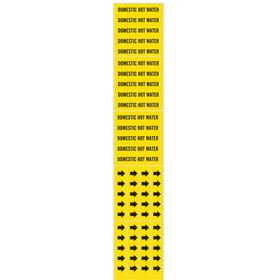 Brady Self-Adhesive Pipe Marker: Domestic Hot Water, Black, Yellow, 2 1/4 in Label Ht, 2 3/4 in Label Wd, Vinyl, 3 PK