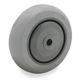 Nonmarking Rubber Tread Caster Wheel: 5 in Wheel Dia, Soft Relative Tread Hardness, Gray, Polyolefin, Ball, 1 1/4 in Wheel Wd, Crowned