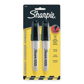 Sharpie Heavy-Duty Tip Permanent Marker: Capped, Chisel Tip Size, Black, 2 PK