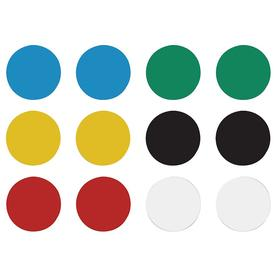 Display Board Magnets: 1/8 in Overall Ht, 3/4 in Overall Dia, Black/Blue/Green/Red/White/Yellow, 12 PK