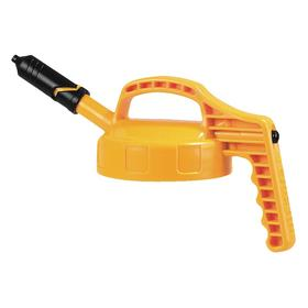 Quick-Identify Lid: Round, Precise-Pour Spout, Yellow, High-Density Polyethylene, 5 13/16 in Lid OD, 7 5/8 in Overall Ht