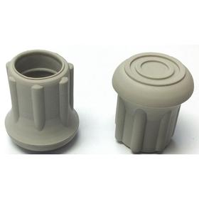 Insertable Furniture Glide: Round, Gray, Rubber, Without Washer, 47/64 in Tip ID, Plain, For 3/4 in Leg OD, For Straight Leg, 25 PK