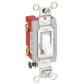 Hubbell Wiring Device-Kellems Toggle Light Wall Switch: 2-Pole, White Actuator, Heavy Duty Specification Grade