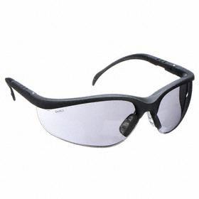 Safety Glasses: Wraparound Frame, Gray, Scratch Resistant, Black, ANSI Z87.1-2010