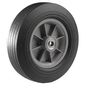 Solid Rubber Tread Tire-Style Wheel: 10 in Wheel Dia, Centered, Plastic, Std, Ball, 2 1/2 in Wheel Wd, 10x2.5 Tire Sidewall