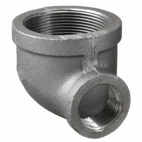 Anvil Black Pipe Elbow: 150 Class, NPT, Female, Reducing Elbow Fitting Type, 3/8 Pipe Size (Port 1), Malleable Iron