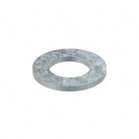 Flat Washer: Steel, Zinc Plated, 200HV Material Grade, For M27 Screw Size, 28 mm ID, 50 mm OD, 4.000 mm Thickness, 5 PK