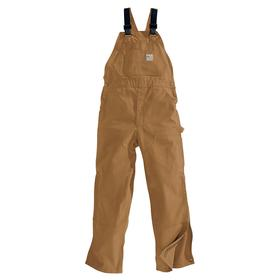 Carhartt Bib Overall: Cotton, Brown, Buckle, Men, 40 Max Waist, 30 in Inseam Lg, Zipper, NFPA 70E, NFPA 2112, Flame-Resistant