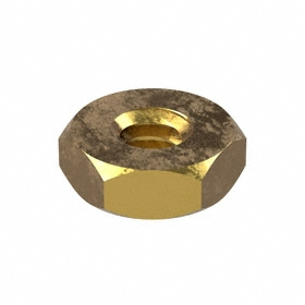 Machine Screw Hex Nut: Brass, 10-24 Thread Size, 3/8 in Wd, 9/64 in Ht, 100 PK