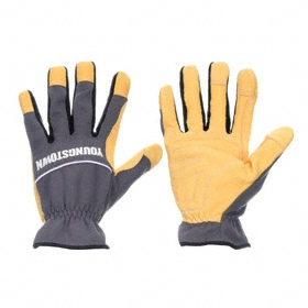 Youngstown General-Use Work Glove: Mechanics Glove, Goatskin, Shirred Cuff, Leather, Smooth, Gray/Tan, S Size, Std, 1 PR