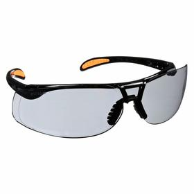 Honeywell Safety Glasses: Gray, Wraparound Frame, Anti-Fog/Scratch Resistant, Midnight Black, Plastic
