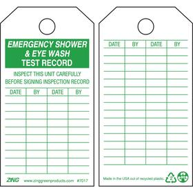 Zing Inspection Tag: 5 3/4 in Overall Ht, 3 in Overall Wd, Plastic, Emergency Shower & Eye Wash Test Record, 10 PK