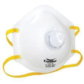 Disposable Particulate Respirator: N95 NIOSH Filter Rating, N Series, Exhalation Valve, Dual Elastic, White, 10 PK