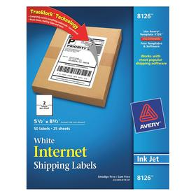 Cover-Up Mailing & Shipping Label: 5 1/2 in Label Ht, 8 1/2 in Label Wd, White, Jam-Resistant/Smudge-Resistant, 25 PK