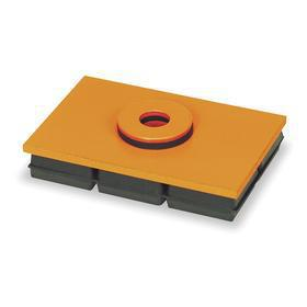 Rubber and Steel Vibration Control Plate with Mounting Hole: Neoprene, 1200 lb Max Load Capacity, 1 in Thickness