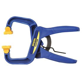 Irwin General Purpose Spring Clamp: Plastic, 1 1/2 in Max Opening Capacity, 1 1/2 in Throat Dp, Rubber, Blue