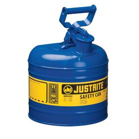 Type I Safety Can: Steel, Swing, 2 gal Capacity, 9 1/2 in Can OD, 13 3/4 in Overall Ht, Blue, Kerosene