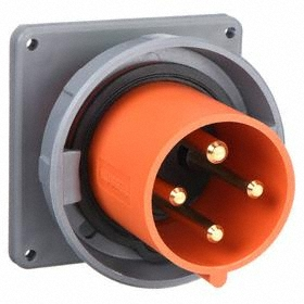 Hubbell IEC Non-Metallic Watertight Pin & Sleeve Male Receptacle: Single Phase, 4 Contacts, 60 Hz Volt Freq, 120/240V AC