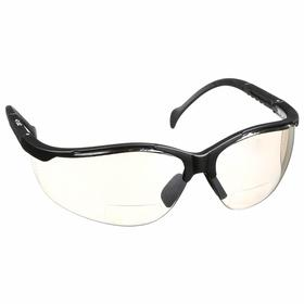 Pyramex Bifocal Safety Reading Glasses: Gray Mirror, Wraparound Frame, Scratch Resistant, Black, Nylon/Polycarbonate