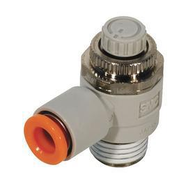 Air Cylinder Speed Control Valve: NPT x Tube, Electroless Nickel-Plated Brass/PBT, 3/8 in Tube Size, 1/2 in Body Size, 56.7 mm Overall Ht