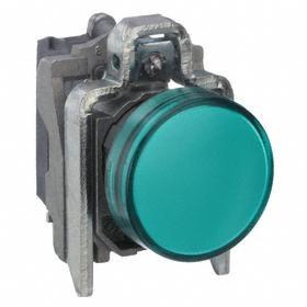 Schneider Electric Pilot Light: 24V AC/DC, 2.13 in Overall Lg, Chrome Plated, Green, 100000 hr Avg Life, Chromium, Metal