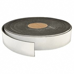 SBR Blend Foam Strip: 1/2 in x 50 ft Size (W x L), PSA Tape, 3/16 in Thickness