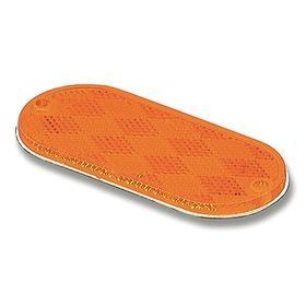 Grote Vehicle Reflector: Oval, Yellow, 4 3/8 in Overall Lg, 1 7/8 in Overall Wd, Acrylic, 24 Haz Material Indicator