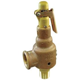 Safety Relief Valve: Bronze, 1 1/4 in Inlet Size, NPT, 100 psi Factory Set Pressure, 5 1/4 in Overall Lg, EPR