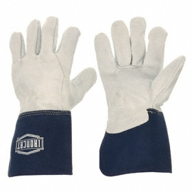 Ironcat Work Glove: Fabric-Backed Leather Palm Glove, Cowhide, Cotton, Gauntlet Cuff, Smooth, Blue/Gray, M Size, Std, 12 PK