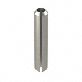 Slotted Spring Pin: 18-8 Stainless Steel, Passivated, 6 mm OD, Fits 6 Min Hole Dia, Fits 6.25 Max Hole Dia, 30 mm Overall Lg, 10 PK