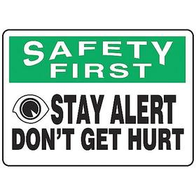 General Safety Reminder: 10 in Overall Ht, 14 in Overall Wd, Vinyl, Self-Adhesive, Safety First, English, Text & Graphic