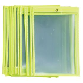 Brady Open-Ended Tag Holder: 9 in Overall Ht, 6 in Overall Wd, Plastic, Yellow, 25 PK