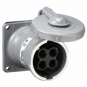 Hubbell Watertight Pin & Sleeve Receptacle: 4 Pins, 3 Wires, 600V AC, 100 A Current, Style 2 Grounding, Nylon, Flip Lid