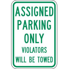 Lyle Parking Sign: 18 in Overall Ht, 12 in Overall Wd, Aluminum, High Intensity, 0.99 Amount of Recycled Content, White