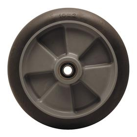 Rubber Tread Caster Wheel: 10 in Wheel Dia, Soft Relative Tread Hardness, Black, Polyolefin, Ball, 2 in Wheel Wd