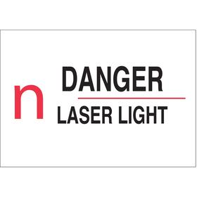 Brady Radiation Sign: 5 in Overall Ht, 14 in Overall Wd, Polyester, Self-Adhesive, Danger, Laser Light, Text & Graphic