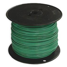THHN Building Wire: Green, Stranded, 600V AC, PVC, Nylon, 194° F Max Op Temp, 12 AWG Conductor Size, 0.128 in Cable OD, 20 A Current, 500 ft Cable Lg