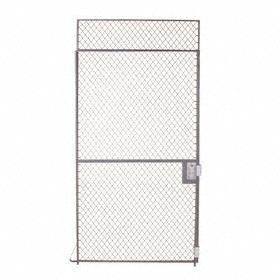 Folding Guard Ceiling Panel for Modular Storage Rooms: Single Slide Door with Transom, Steel, 8 ft Overall Ht, Grey