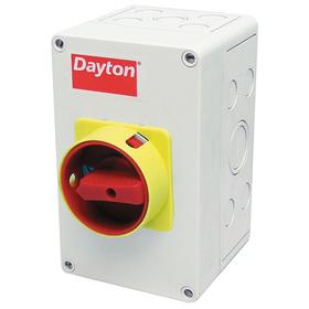 Enclosed Motor Disconnect Knob Switch: Three Phase, 3 Poles, 2 hp @ 240V AC Output Power - Single Phase, 5 1/8 in Enclosure Ht, Gen