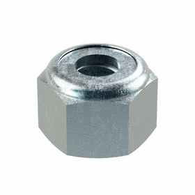"Nylon Insert Locknut: Steel, Zinc Plated, 1/4""-20 Thread Size, 29/64 in Wd, 21/64 in Ht, 100 PK"