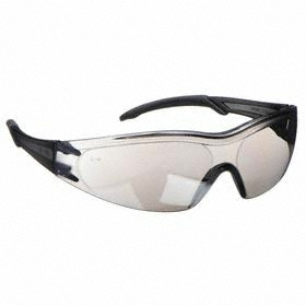 Safety Glasses: Gray Mirror, Wraparound Frame, Scratch Resistant, Gray, ANSI Z87.1-2010, Polycarbonate, 164 mm Arm Lg