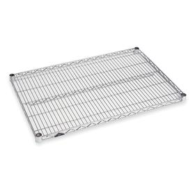 Wire Shelf: 800 lb Max Load Capacity, 24 in Wd, 36 in Dp, Nickel-Chrome, Low Humidity Environments/Storage, Silver, 54 Haz Material Indicator