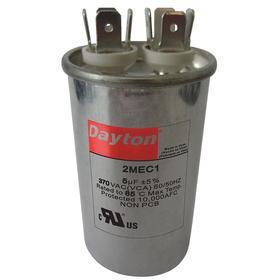 Motor Run Capacitor: Round, 440V AC, 5 uF Capacitance, 2 3/4 in Case Ht, 1 5/8 in Dia, 3 3/8 in Overall Ht