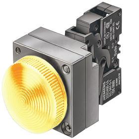 Siemens Pilot Light Complete Unit: 24V AC/DC, Brass/Zinc Die Cast, Yellow, Nickel, Screw Terminal, AC/DC Current Type
