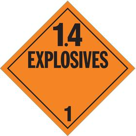 Stranco DOT Vehicle Placard: 1.4 Explosives, 10 3/4 in Overall Ht, 10 3/4 in Overall Wd, Tagboard, Orange, 10 PK