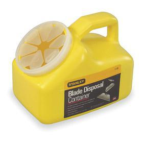 Stanley Blade Disposal Container: Wall Mount, Plastic, 7 1/4 in Overall Ht, 8 3/4 in Overall Wd, 5 3/4 in Overall Lg